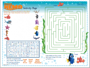 Movies - Complimentary Finding Nemo Kids Activity Sheet - Two Kids ...