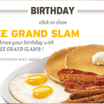 Free Dennys grand slam breakfast