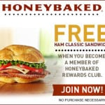 free honey baked ham sandwich
