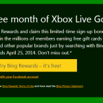 Earn a Free Month of XBOX Live Gold from Bing Rewards