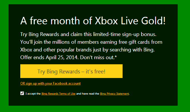 Free Month of XBOX Gold Live