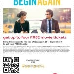 Free Movie Tieckts to Begin Again