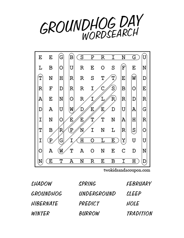 photograph regarding Groundhog Day Word Search Printable known as Totally free Printable Groundhog Working day Phrase Appear