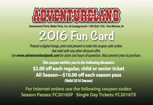 Adventureland Coupons Des Moines Iowa 2016
