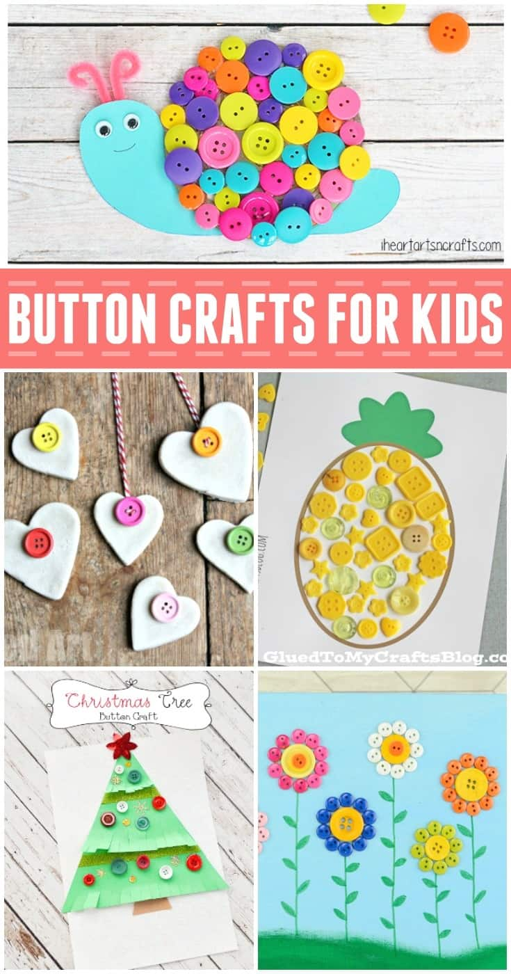 Looking for some fun kids craft ideas to use up some of those buttons you have around the house? These fun kids button craft ideas are sure to keep your kids busy and spark lots of creativity at the same time. Click on the links below for more info and directions on these fun button crafts.