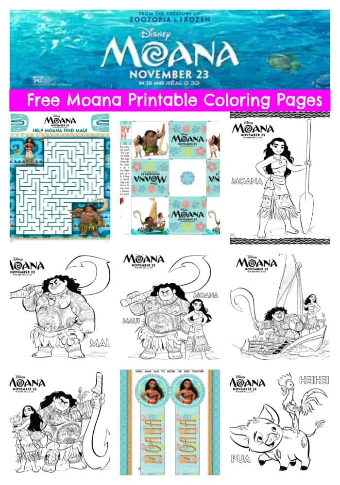 Celebrate Moana coming to theaters with these free Moana printable coloring pages.
