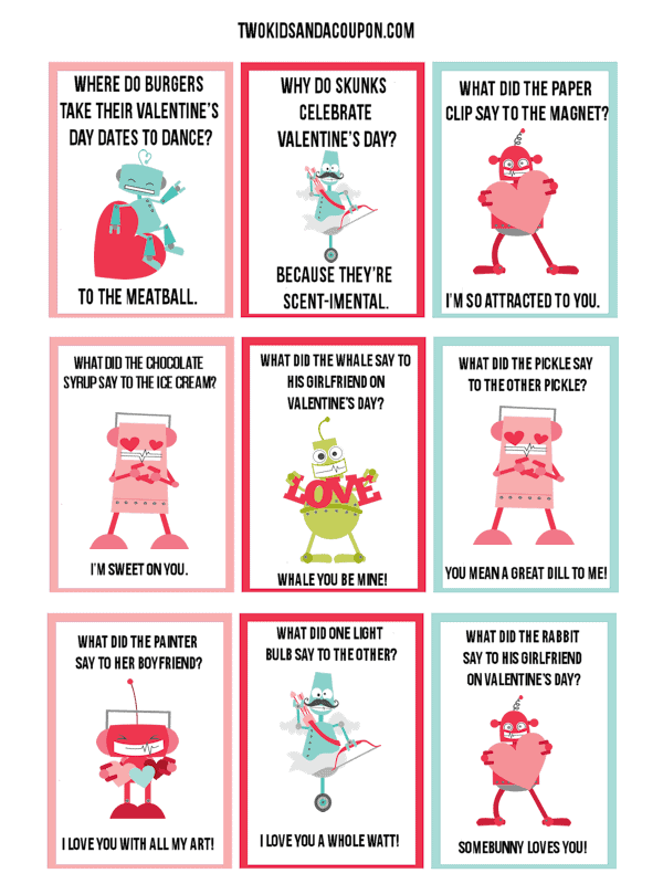 graphic about Printable Jokes known as Totally free Youngsters Printable Robotic Valentines and Lunchbox Jokes