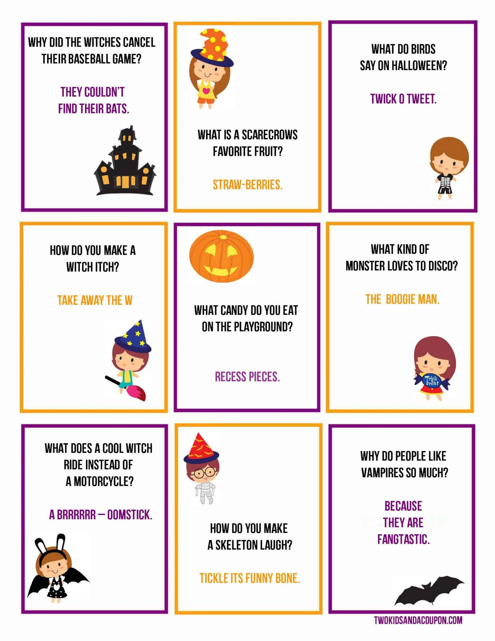 picture regarding Printable Lunchbox Jokes known as No cost Printable Halloween Lunchbox Jokes