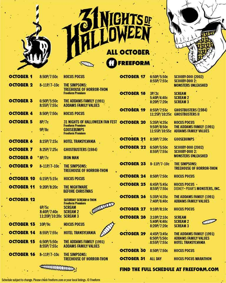 Freeform Halloween 2020 Lineup Freeform 31 Nights of Halloween Schedule for 2019