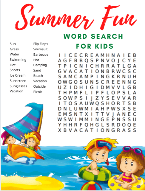 This is a picture of Summer Word Search Printable pertaining to free printable