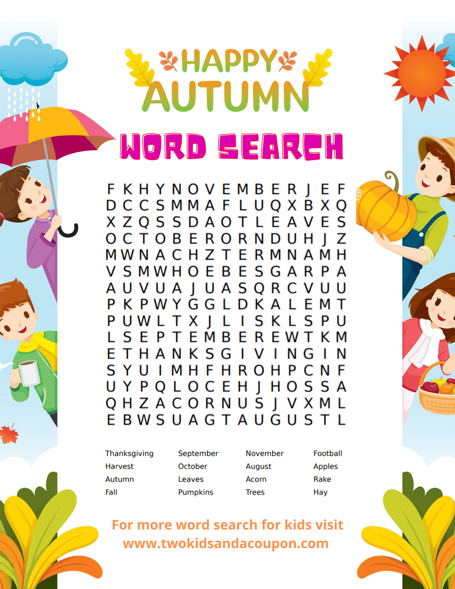 Free Kids Word Search Puzzles Printable For Fall For Your Family